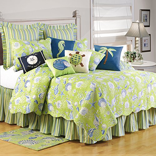 C&F Home, Green Shells Cotton Quilt, 66x86 - Coastal/ Nautical Theme ()