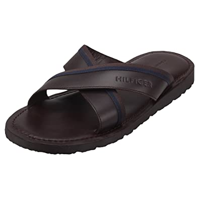 17b0b41c4c1893 Tommy Hilfiger Casual Leather Cross Strap Mens Sandals Coffee Bean - 46 EU