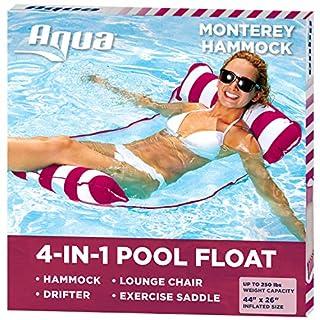 Aqua 4-in-1 Monterey Hammock Inflatable Pool Float, Multi-Purpose Pool Hammock (Saddle, Lounge Chair, Hammock, Drifter) Pool Chair, Portable Water Hammock, Burgundy/White Stripe