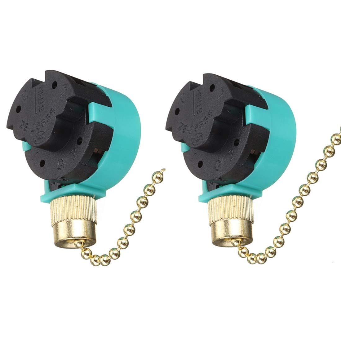 2PACK Fan Switch Pull Chain Control ZE-268S6 ZE-208S6 3 Speed 4 wire Speed Control Switch Ceiling Fan Speed Control Switch (Brass)