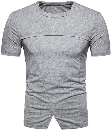 Herrent Camisa para Hombre De Verano Rayas Cuello Impresión Casuales con En Especial Estilo V Jersey Camiseta Top Blusa Modelos De Verano De Color Sólido Moda Puntiaguda Camiseta (Gris Oscuro S): Amazon.es: