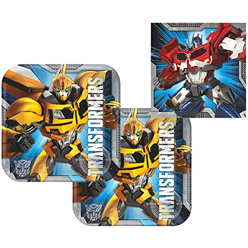 Transformers Party Pack for 16 Guests - 16 Dessert Plates and 16 Beverage Napkins]()