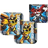 Transformers Party Pack for 16 Guests - 16 Dessert Plates and 16 Beverage Napkins