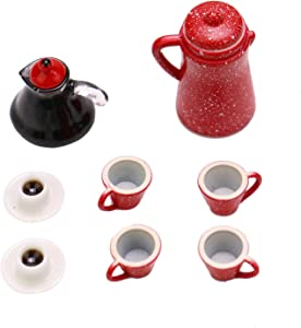 JETEHO 1:12 Dollhouse Miniature Coffee Pot and Cups Set Miniature Play Food Doll House Accessories Play Scene Clay Mini Decor Gift