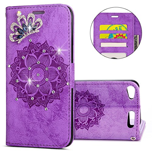 - IKASEFU Clear Crown Rhinestone Diamond Bling Glitter Wallet Card Holder Emboss Mandala Floral Pu Leather Magnetic Flip Protective Cover Compatible with ipod Touch 5/6,Purple