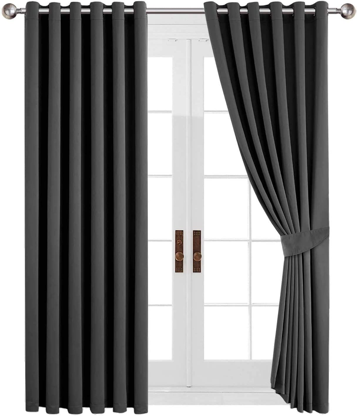 Ah Homeware Window Treatments Eyelet Readymade Blackout Curtains Thermal Insulated Top Ring For Windows Curtains 2 Tiebacks Grey 46 Width X 54 Drop 117 X 137 Cm Amazon Co Uk Kitchen Home