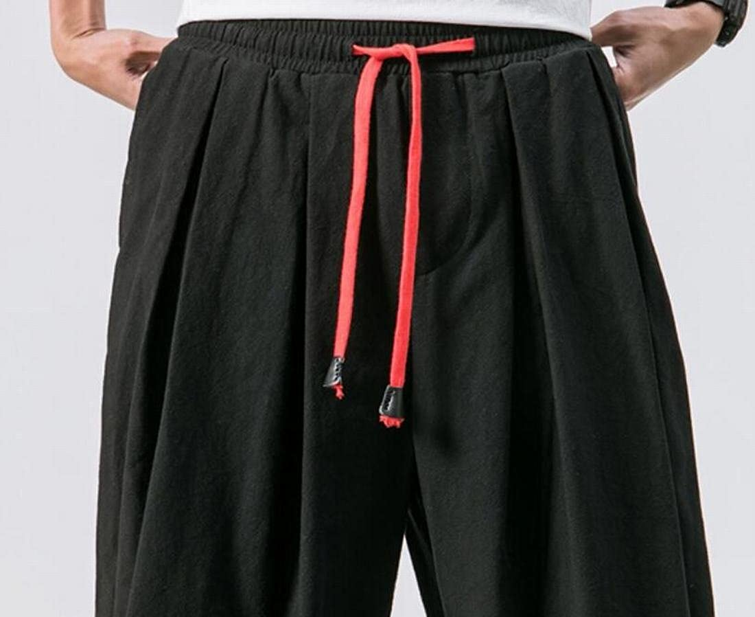 Jofemuho Mens Solid Color Chinese Style Jogging Comfy Linen Pockets Harem Pants Trousers