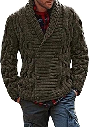 Gemijacka Mens Thick Shawl Collar Cardigan Sweater Double Breasted Stripe Cable Knit Sweater Jacket