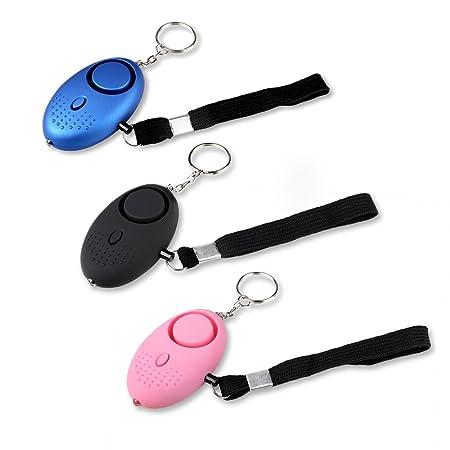 Schramm® 3 Stück Taschenalarm Panikalarm Selbstschutz 130db Schlüsselanhänger Taschenlampe Taschen Alarm Schlüssel Panik Selb