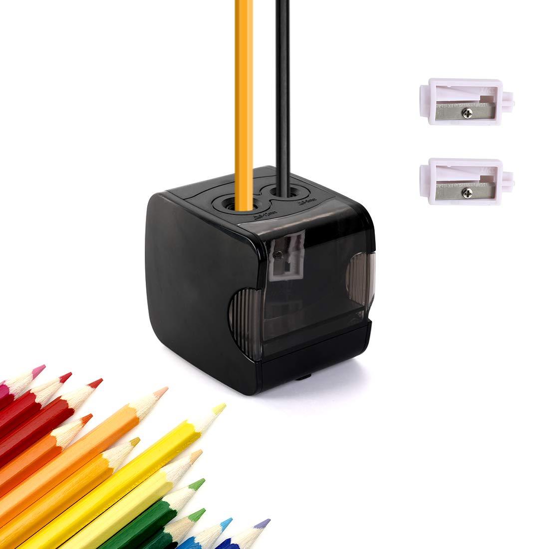 CyanCloud Elektrischer Bleistiftspitzer mit Doppelloch, batterie- oder USB-betrieben, Spitzen Nr. 2 und Buntstifte fü r Zuhause, Schule, Bü ro (schwarz)