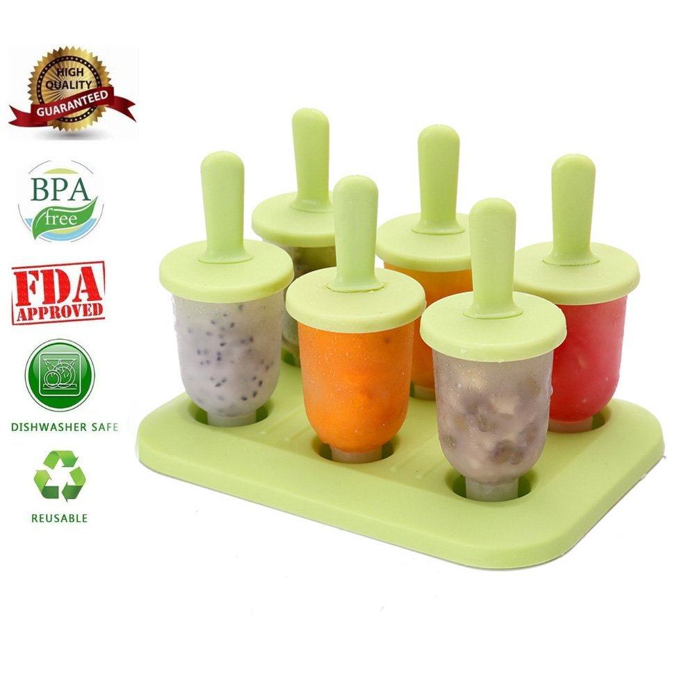 Ice Lolly Mould for Baby - Aolvo BPA Free Mini Popsicle Mould Ice Cream Makers with Reusable Stick Small Handles for Healthy DIY Ice Pops Frozen Fruit Juice Milk Yoghurt in Summer, Pack of 6 (Green)