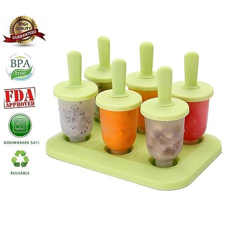 Aolvo Moldes Helado Bebe, 6 Pedazos Helados Caseros Moldes para Helados Pequeños sin BPA,