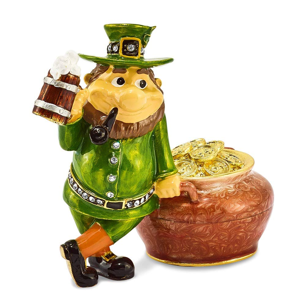 Jere Luxury Giftware Bejeweled Lucky Leprechaun & Pot of Gold, Pewter with Enamel Collectible Trinket Box with Matching Pendant Necklace