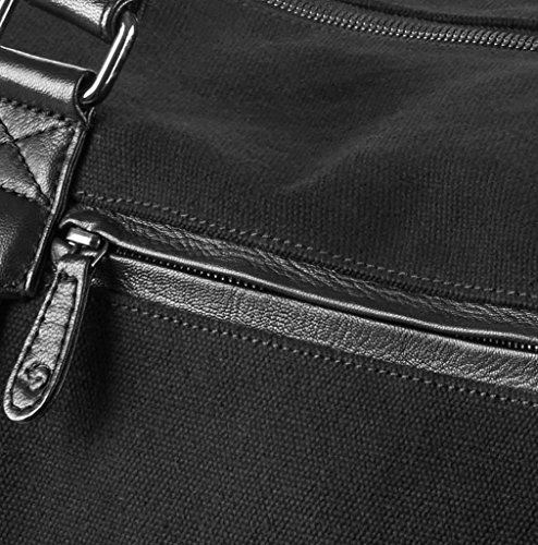 """WIND & VIBES MILAN """"SILVER"""" - Weekender Reisetasche aus Baumwoll Canvas und Echtleder (Handgepäckmaße). Handgefertigte Design Tasche aus schwarzem Canvas und schwarzem Leder."""