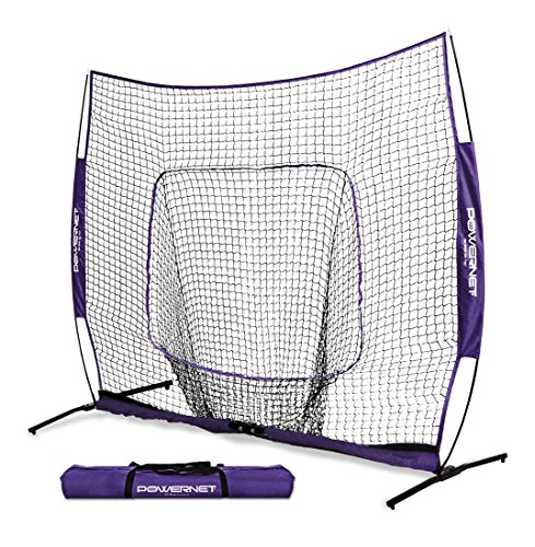 PowerNet 7x7 DLX Net and Portable Pitching Screen Bundle (Purple) | Baseball Pitching Protection Net | Batting Practice Screen | Instant Pitcher Protection from Line Drives Grounders |A Frame (Pitchers Practice Screen)
