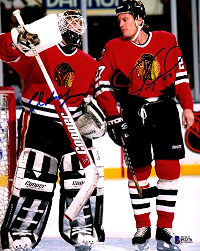 Ed 8x10 Autographed Photo - Beckett-BAS Jeremy Roenick and Ed Belfour Dual Autographed Signed Chicago Blackhawks 8x10 Photo Photograph