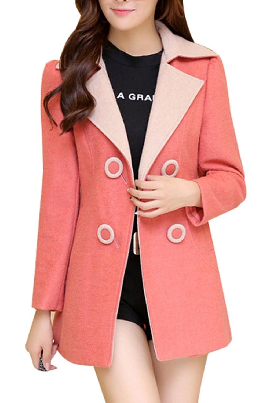 Yasong Damen/Mädchen einreihig Umlegekragen Slim Fit Faux Wool Coat Peacoat Outerwear Trench Coat