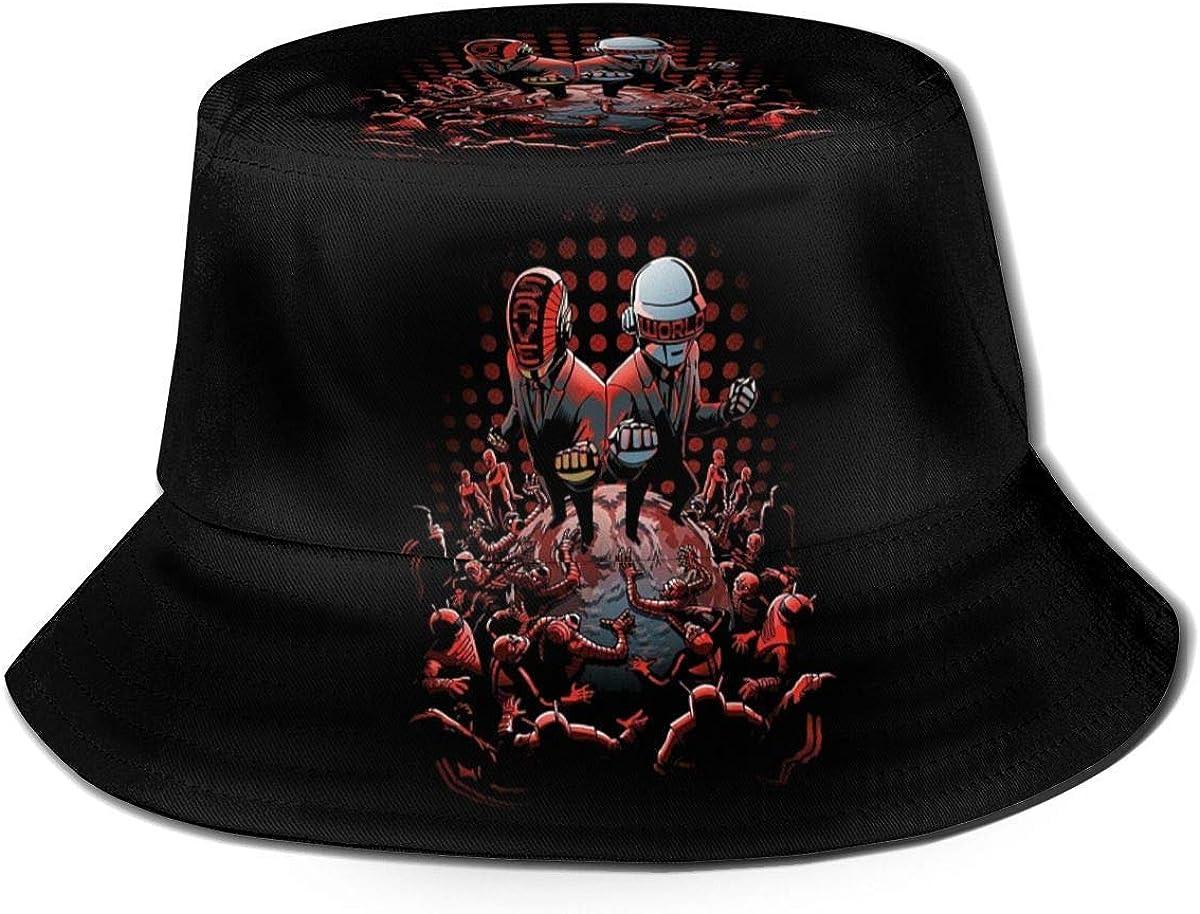 DDONEA Daft Punk Around The World Unisex Secchio Cappello Vintage Pescatore Cappelli Reversibile Pieghevole Cappello Nero