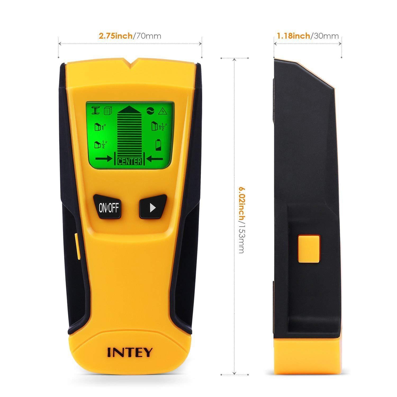 Perno de Madera Cables de CA rastreador para tuber/ías de Metal de Madera INTEY Detector de Pared multifunci/ón 3 en 1 con Pantalla LCD para Metal