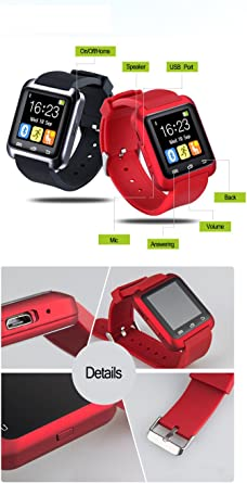 Amazon.com: Sky300® Red Color Smart Watch U80 Reloj ...