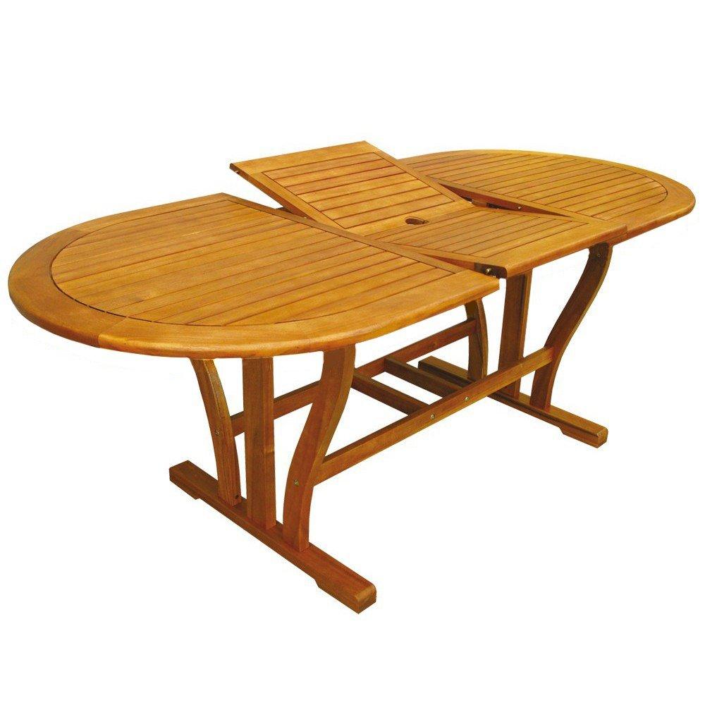 Cosma - Mesa ovalada extensible - Fabricada en madera de acacia ...
