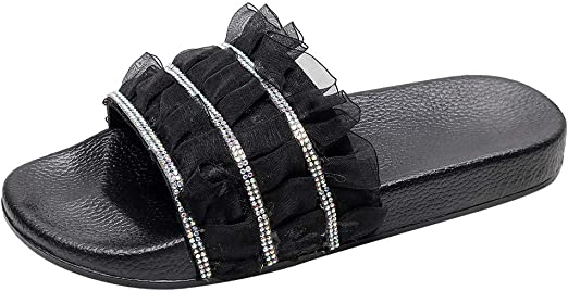 Womens Rhinestones Glitter Flatform Shoes Summer Beach Slipper Slip On Sandals