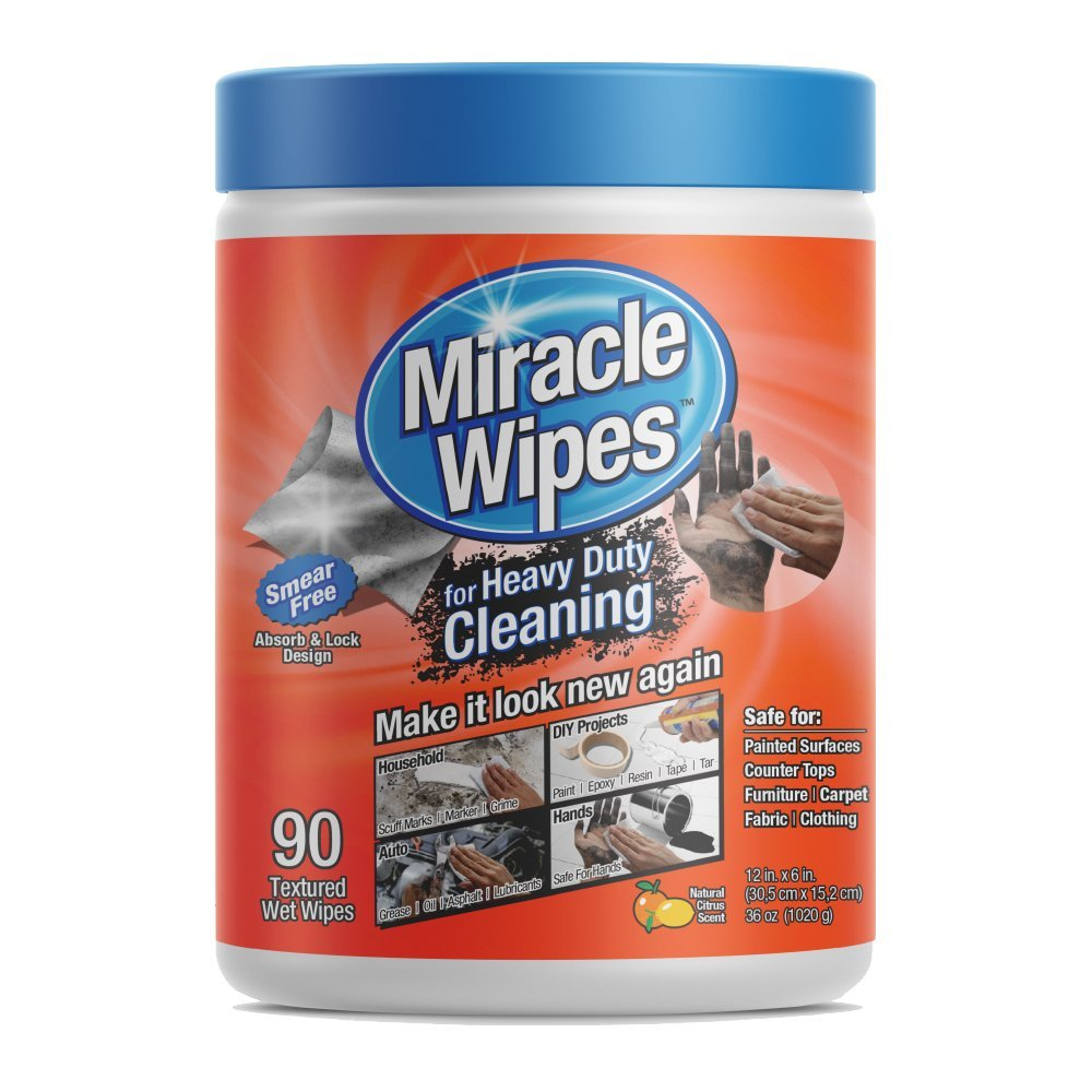MiracleWipes Heavy Duty Cleaning Wipes (90-Count) | Multi Surface Degreaser, Hand Cleaner, Cleaning Supplies | Kitchens, Bathrooms, Countertops, Grease, Indoors, Outdoors - All Purpose