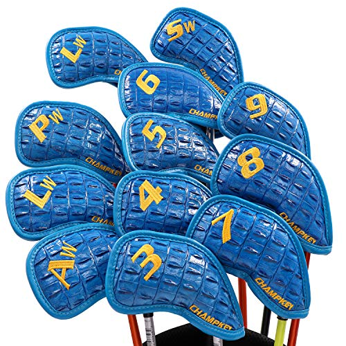 Champkey Monster Golf Iron Head Cover Pack of 12pcs - Premium Polyurethane Plus Memory Material Club Covers Ideal for Titleist, Callaway, Ping, Taylormade,Cobra Etc -