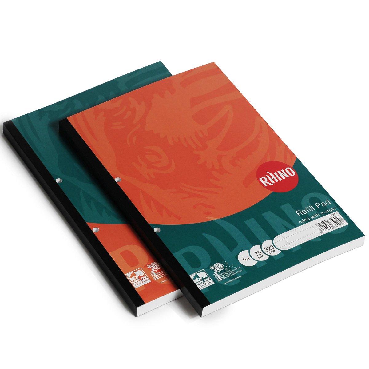 Rhino - Libreta de recambio (A4, 160 páginas, 6 mm a rayas, con márgenes) Victor Stationery SDNM-2