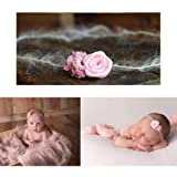 Flower Duo Mohair Tieback Headband, Photography Prop, Newborn, Toddler, Child, Adult (Pink)
