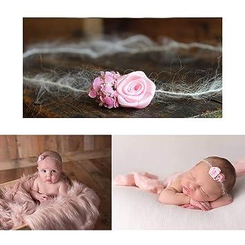 Handmade Sweet Pink Flower Baby Kids Nylon Elastic Headband One of a Kind