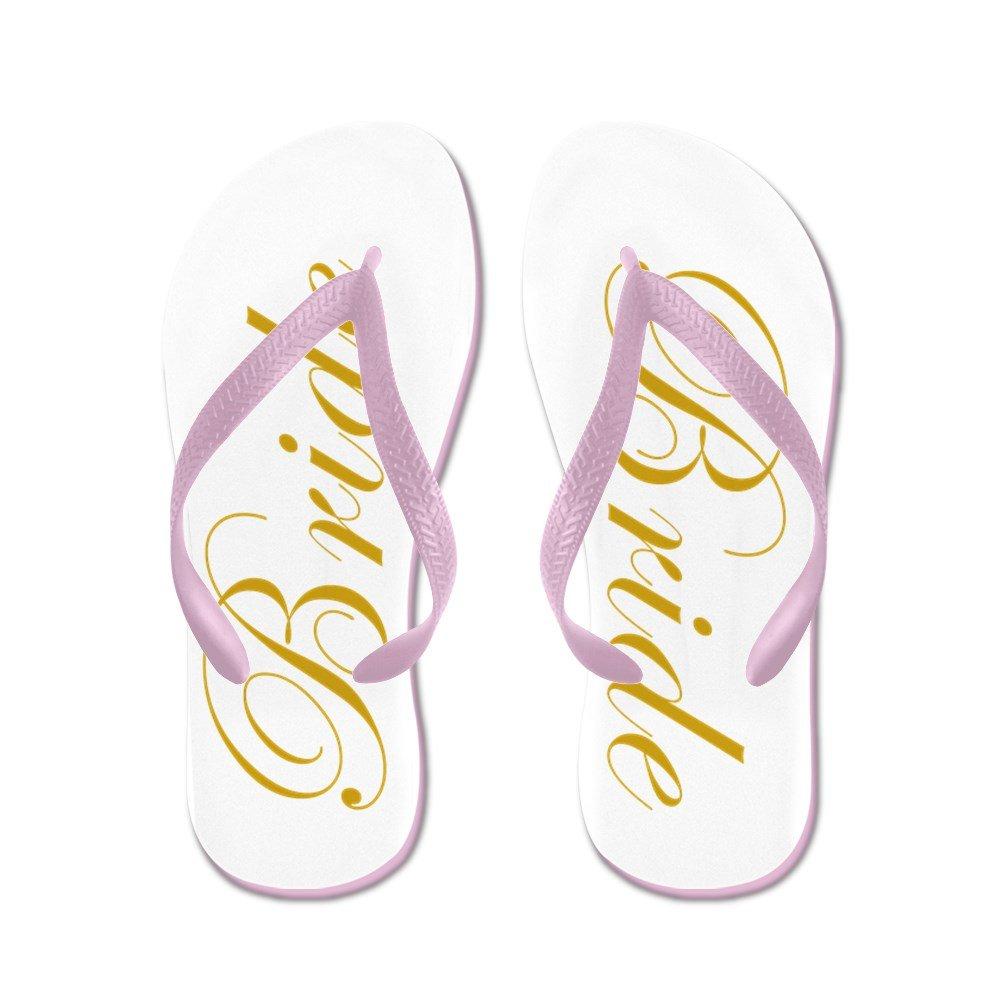 1af56147456 CafePress - Bride in Golden Script Wedding - Flip Flops