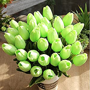 Mikilon 5 Heads Artificial Flowers Real Touch Tulips Wedding Bouquets Flowers Fake Tulips PU Tulips Flowers Arrangement Bouquet Home Room Centerpiece Party Wedding Decor 106