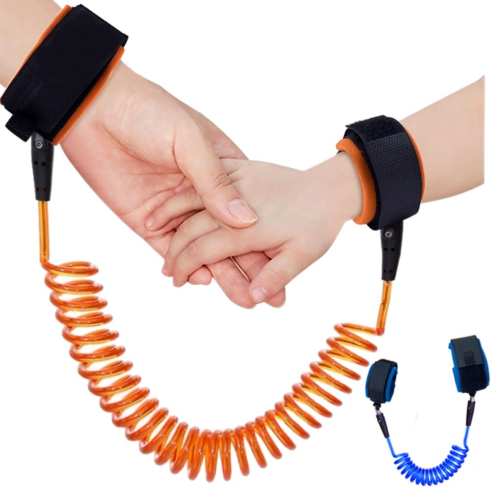 2 Pack Anti Lost Wrist Link, Toddlers Safety Wrist Leash Child Safety Walking Harness for Kids | Skin Care Cotton | Reflective | Flexible | Length 71 inches (Blue and Orange) 61yhlTGSPUL