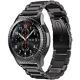 iBazal Gear S3 バンド galaxy watch 46mm Galaxy Huawei Watch GT兼用 moto360 22mm 時計バンド精密制作 ステンレスバンド 調整工具付き ウォッチバンドメタル 男女共用 マット質感(ステンレス-ブラック) …