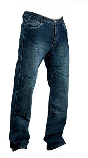 Juicy Trendz Hombre Motocicleta Pantalones Moto Pantalón Mezclilla Jeans con Protección Aramida Azul