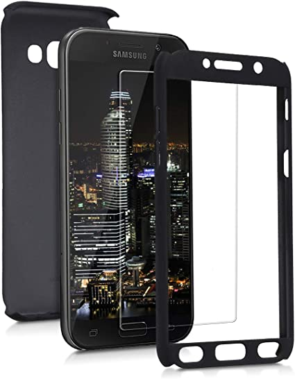 kwmobile Coque avec Protection Écran Compatible avec Samsung Galaxy A5 (2017) - Étui Rigide et Film Protecteur - Noir métallique