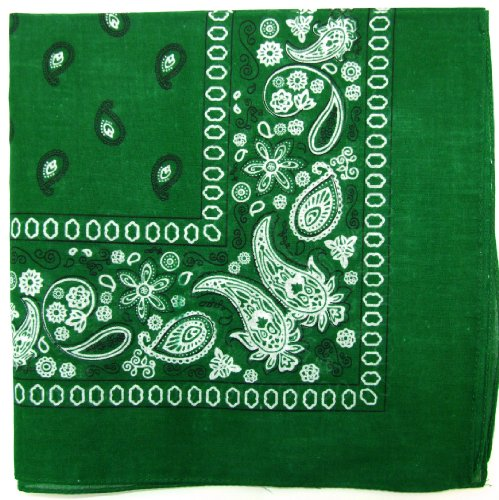 Novelty Bandanas Paisley Cotton Bandanas (Kelly, 22 X 22 (Green Bandana)