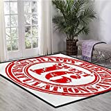16th Birthday, Area Rug Dorm, Vintage Rubber Stamp Old Fashioned Greeting Sign Time Flies Theme Print, Door Mat Increase 6x9 Ft Vermilion White