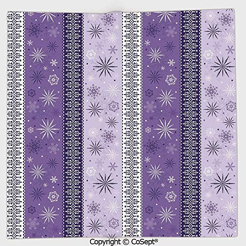 AmaUncle Microfiber Square Towel,Arabesque Scroll Western Christmas Snowflakes Middle Eastern Noel Print Decorative,Suitable for Camping,Running,Cycling,Gym(13.77x13.77 inch),Lavender Violet White