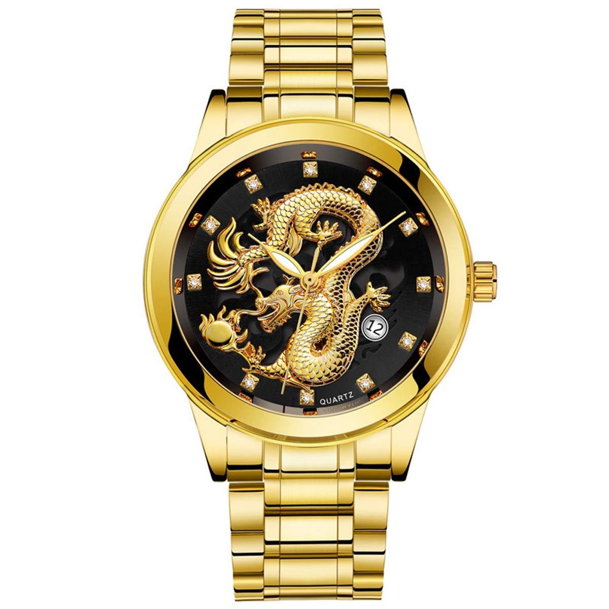 ZODRQ Men's Watch,Fashion Waterproof Watches Stainless Steel Wrist Watch Wristwatch Gold Dragon Sculpture Quartz Watch Gift (Black) by ZODRQ