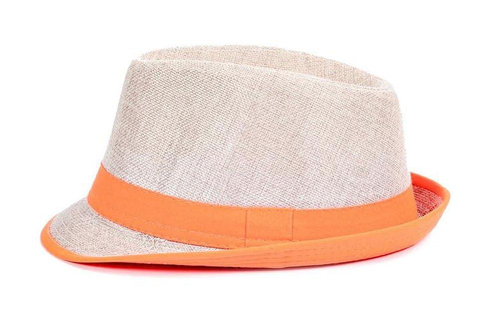 Leisial Panamah/üte Unisex Traveller Sonneh/üte Jazzhut Flexible Sommer Strohhut Strand H/üte Nat/ürlichen Faser Handgewebt,Orange