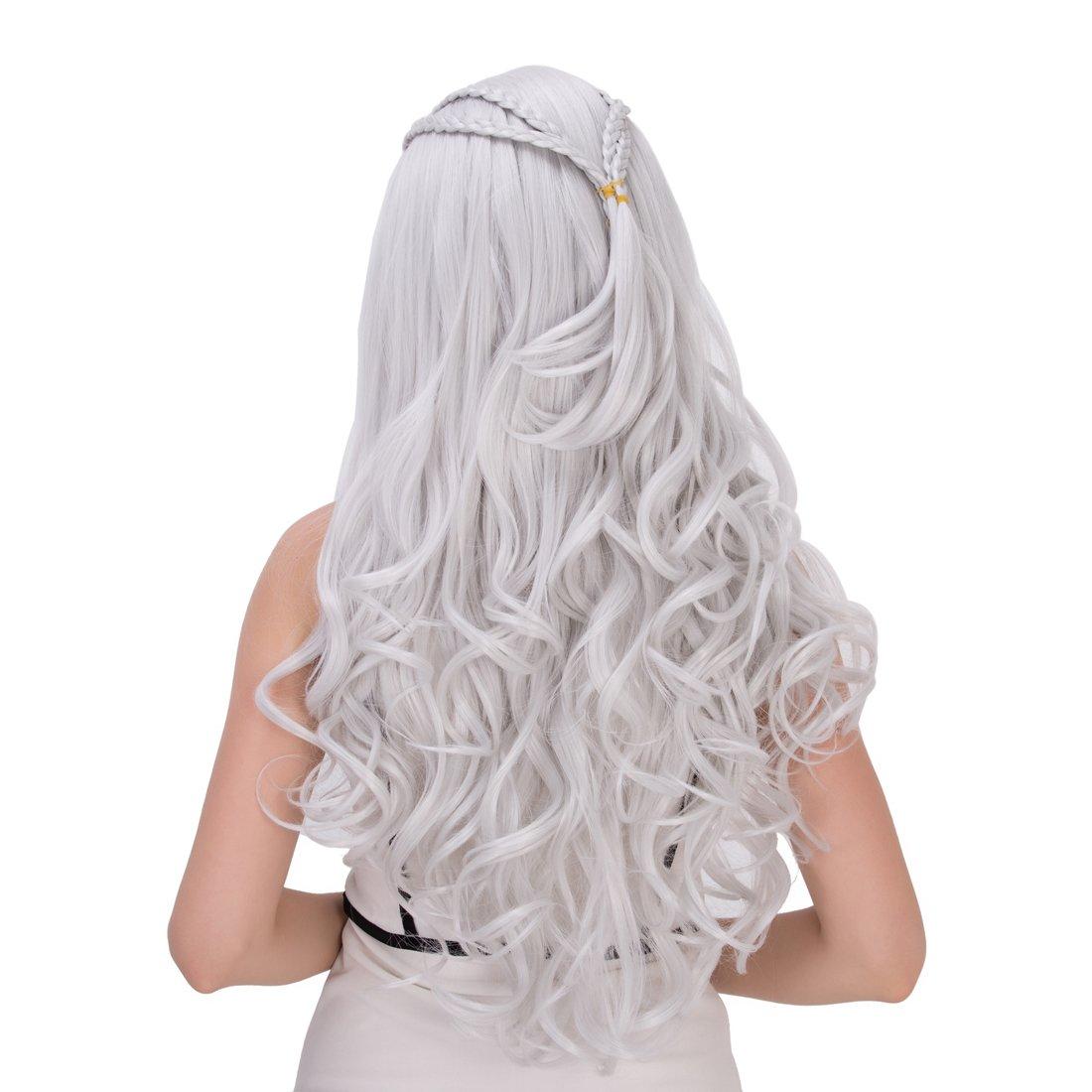 Amback largo rizado trenzado estilo Cosplay peluca de plata para el Daenerys Targaryen Khaleesi: Amazon.es: Belleza