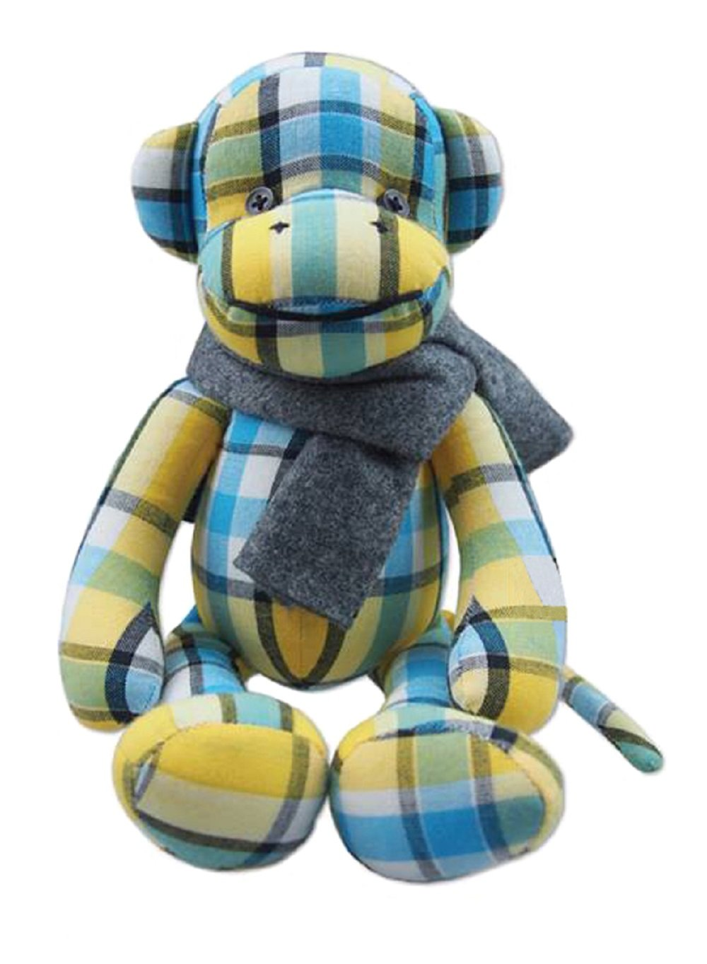 Lovely 10-Inch Yellow-Blue Thai Hand-woven Cotton Little Monkey Soft Toy