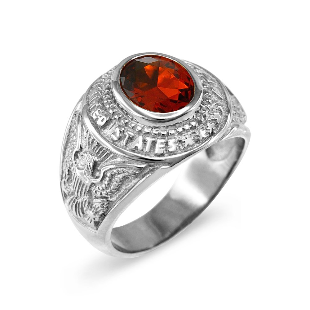 January CZ Birthstone US Army Mens Ring in Solid 925 Sterling Silver