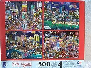 Amazon.com: Ceaco City Lights - 4 x 500 Piece Puzzles (New