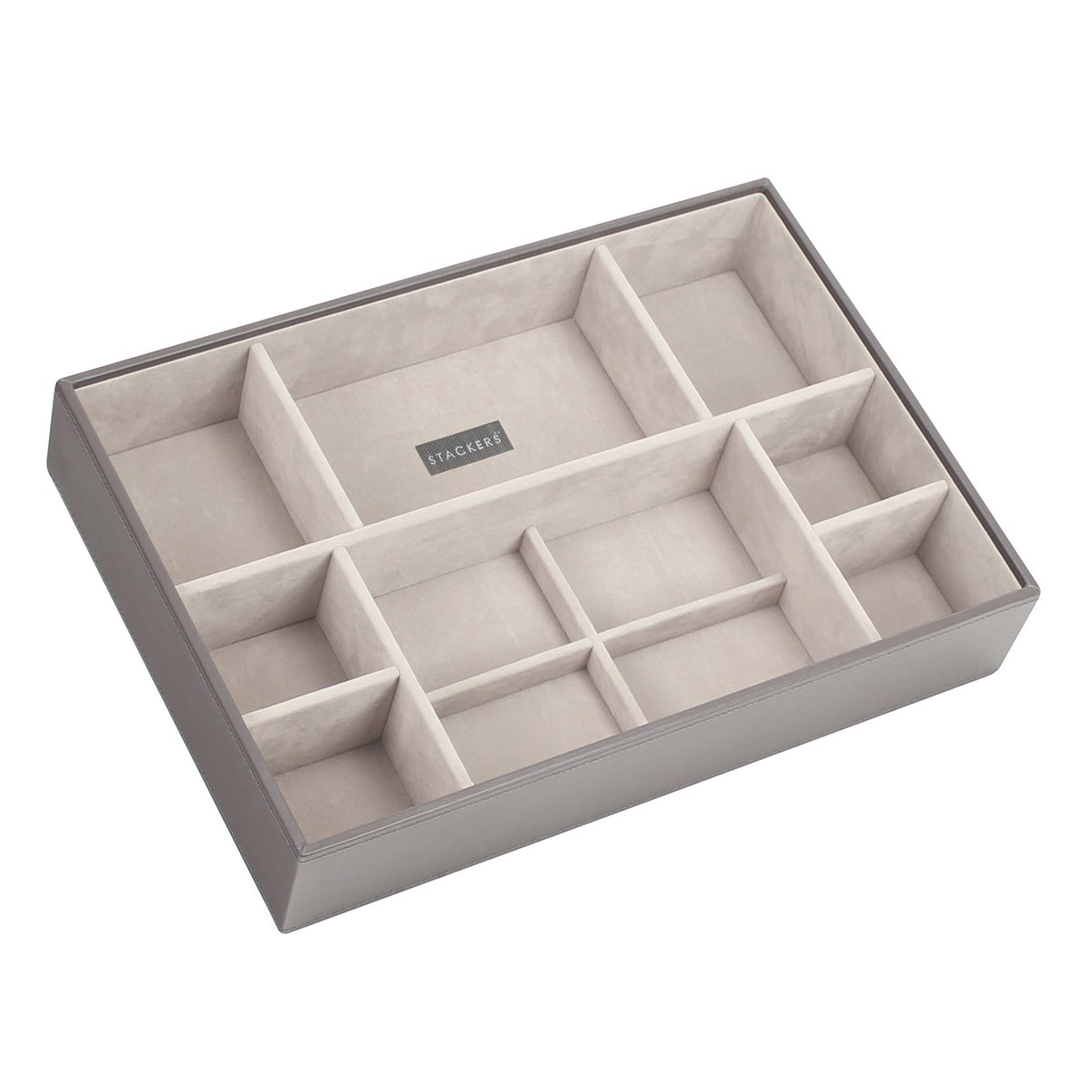 STACKERS 'SUPERSIZE' Mink Deep Section STACKER Jewellery Box with Grey Velvet Lining. Carters of London 73107