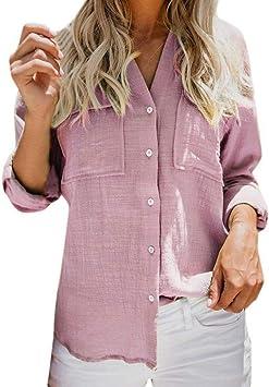 ❤ ️ coloré (TM) Larga Camisa Mujer Mujeres algodón Lino Casual Sólido Camisa de Manga Larga Blusa Botones Camisetas Rosa Rosa Large: Amazon.es: Electrónica