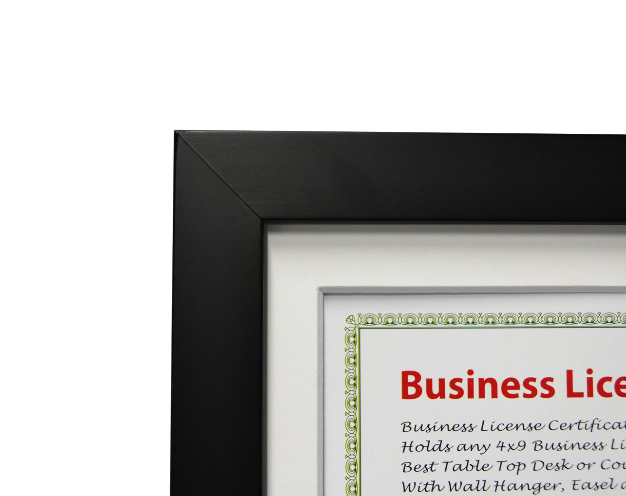 Golden State Art 5x10 Wood Frame for 4x9 Business License Certificate with White Mat & Table-top Display, Black by Golden State Art (Image #3)