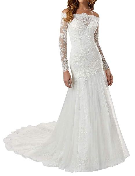 Amazon.com: Vestido de novia vestidos de encaje manga larga ...